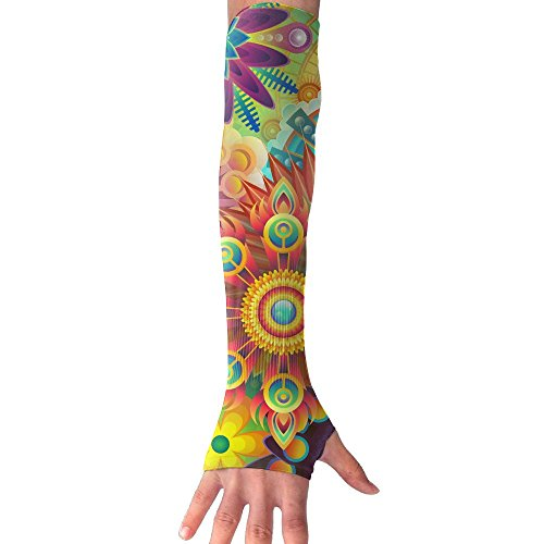 HBSUN FL Unisex Colorful Floral Anti-UV Cuff Sunscreen Glove Outdoor Sport Riding Bicycles Half Refers Arm Sleeves by HBSUN FL