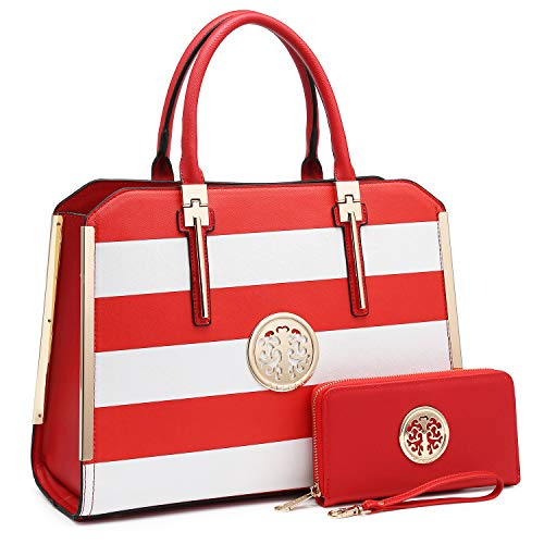 Dasein 2pcs Women Shoulder Purses Top handle Handbags Satchel Bags Work Tote Bags with Wallet (red/white) ()