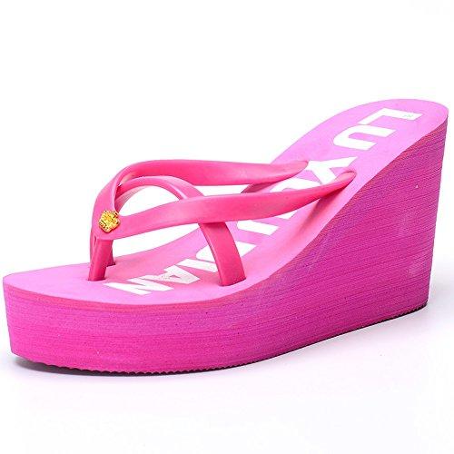 Alto De pink Verano cómodo Zapatillas Zapatillas De Gruesas sandalias De Chanclas Dark MEIDUO Tacón Playa z6X0B1