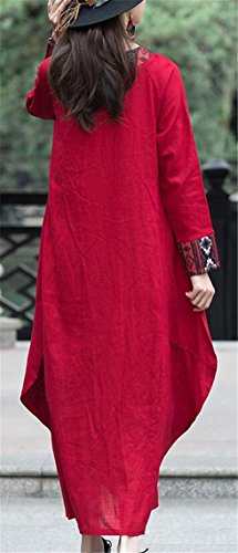Womens Jaycargogo Style Cotton Sleeve Casual Red Maxi Long Dresses Chinese Square Linen Neck drrwUA
