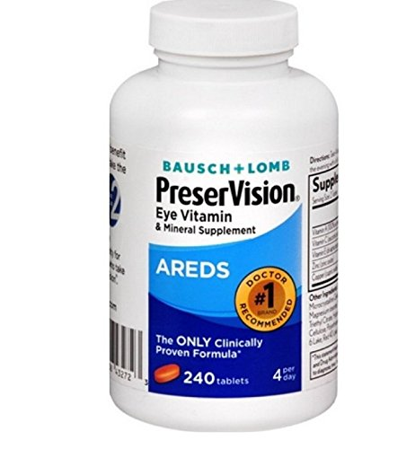 Bausch Lomb PreserVision AREDS Eye Vitamin Mineral Supplement Tablets, 240 Count Bottle