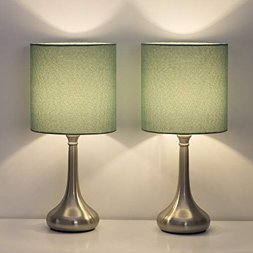 HAITRAL Bedside Table Lamps - Modern Nightstand Lamps Set of 2 with Fabric Shade, Simple Small Desk Lamps for Bedroom, Office College Dorm, Ideal Gift - Light Green ()