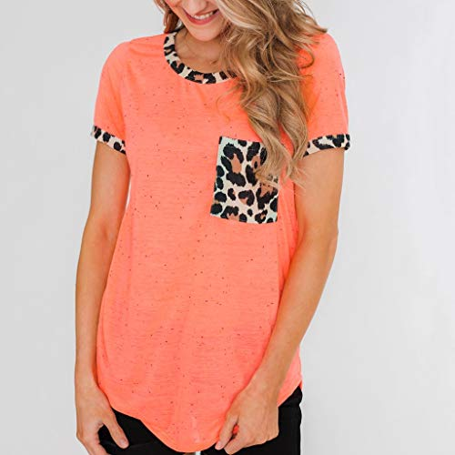 Womens Short Sleeve Tee - On Sale Fashion Pocket Leopard Dot Print Summer Casual Loose Breathable Blouse Top by Dacawin-Women Tops (Image #1)