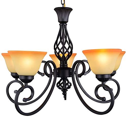 Yiweer 30 Inch Traditional 5 Light Chandelier,Antique Black Hanging Light,Shades Glass,Adjustable Direction,Warm Color (5-light Chandelier) ()