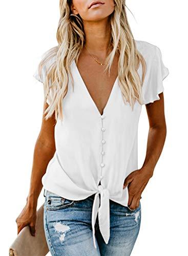Asvivid Womens White Blouses Elegant Button Up V Neck Tops Ruffle Cap Sleeve Tshirt Plain Loose Flowy Blouses Plus Size - Blouse Sleeve Cap White