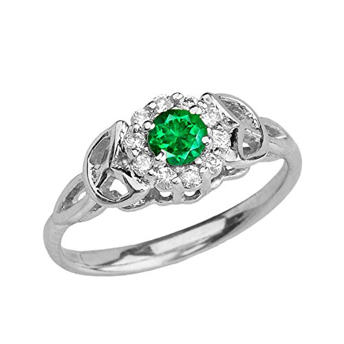 - Precious 10k White Gold Diamond and Emerald Engagement/Proposal Ring (Size 6.5)