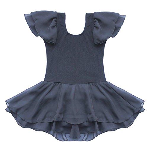 [TiaoBug US Kids Gymnastics Ballet Tutu Dance Costume Dress 3-4 Black] (Black Ballet Dance Costumes)