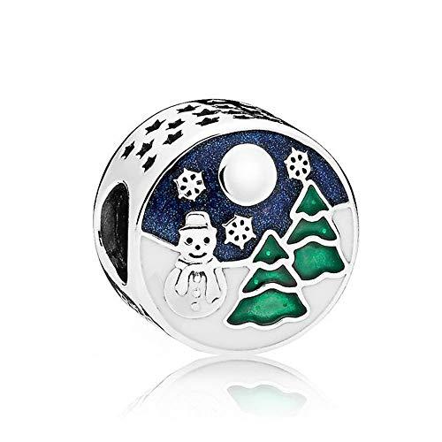 Romántico Amor Snowy Wonderland Silver Charm Blue & Green Enamel Openwork Bead fit Pandora Bracelet