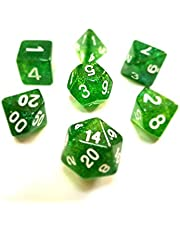 Twinkling Green Dice Set For D&D RPG Table Game - Dungeons and Dragons