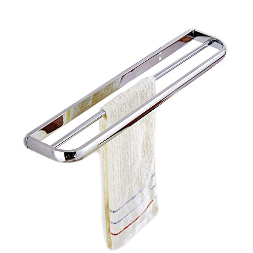 Leyden TM Brass Wall Mounted Bath Hardware Double Towel Bar Towel Holder Accessory Set for Bathroom, Polished Chrome ()