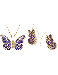 Gold Plated 925 Silver Butterfly Necklace and Dangle Earring Set Handmade  Polymer Clay f3a9f9dd3a83