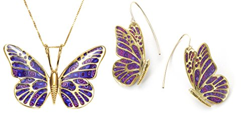 (Gold Plated Silver Butterfly Necklace Dangle Earrings Purple Polymer Clay Set, 16.5