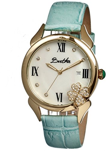 bertha-clover-ladies-watch-powder-blue-leather-band-gold-bezel-white-analog-dial-gold-hand