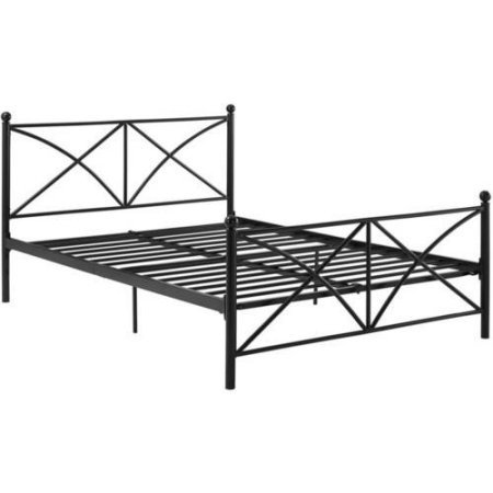 Contemporary Design with Round Finial Detailing Metal Bed Frame (Full) (Country Full Size Headboard)