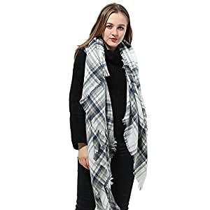 White Scarf Plaid Blanket Scarf Women Big Square Scarf for Winter Warm Tartan Checked Shawl