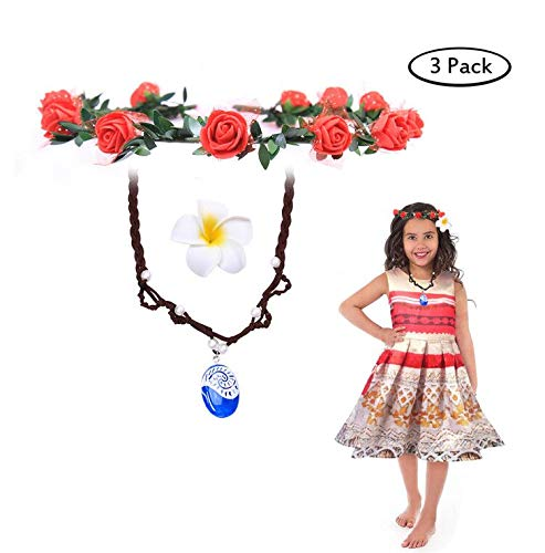 (Buufan Girl Sapphire Necklace for Princess Moana Cosplay with Floral Wreath Headband & Flower Hair Clip,Moana Movie Costume Accessories,Blue Pendant Necklace for Girl Children Birthday Party Dress Up)