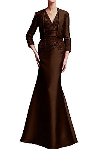 Applikation Schokolade bodenlang aermellos Brautmutterkleid Etui Bolero Satin Damen Neu V Abendkleid 2017 Neck Ivydressing mit Promkleid xIwqTzZIp