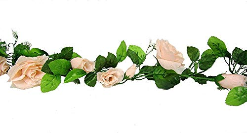 3 x 5 ft Rose Garlands Peach Colors, Silk Flowers Wedding Arch Chuppah Decor Tkaffor from Unknown