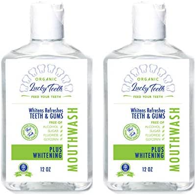 Organic Whitening MouthWash - Plus WHITENING - Whitens, Refreshes. Food Grade Peroxide Plus Essential Oils.Vegan and Cruelty Free. 12 OZ by Lucky Teeth (2)