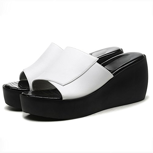 FEI Mules Slipper Female Summer Wear New Summer Korean Wild Go Out Flip Flops With Thick Platform Sandals Black White Sandals Casual (Color : Black, Size : EU35/UK3/CN34) White
