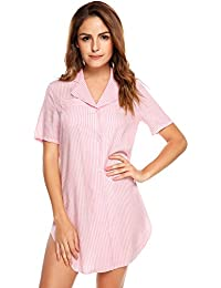 6f376700be Womens Nightshirt Short Sleeves Pajama Top Boyfriend Shirt Dress Nightie  Sleepwear