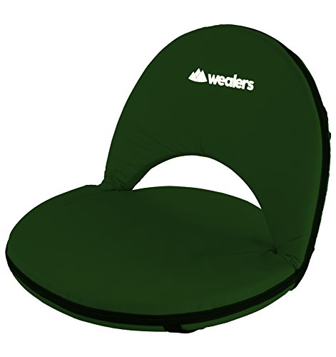 Green Picnic Chair (Wealers Padded Cushion Recliner Picnic Chair, 5 Reclining Positions, Great for a Beach Chair / Camping /Or for Stadium Seats, Easy to Carry with Shoulder Straps)