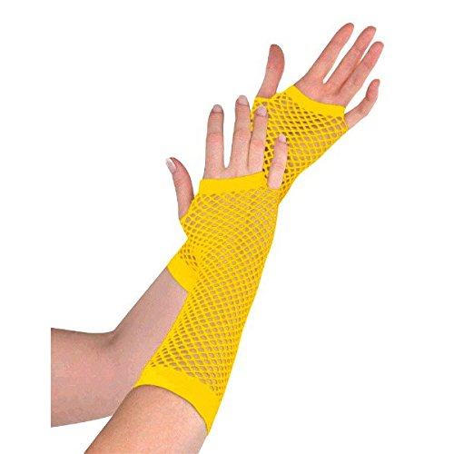 Amscan Fishnet Long Gloves, Party Accessory, Yellow