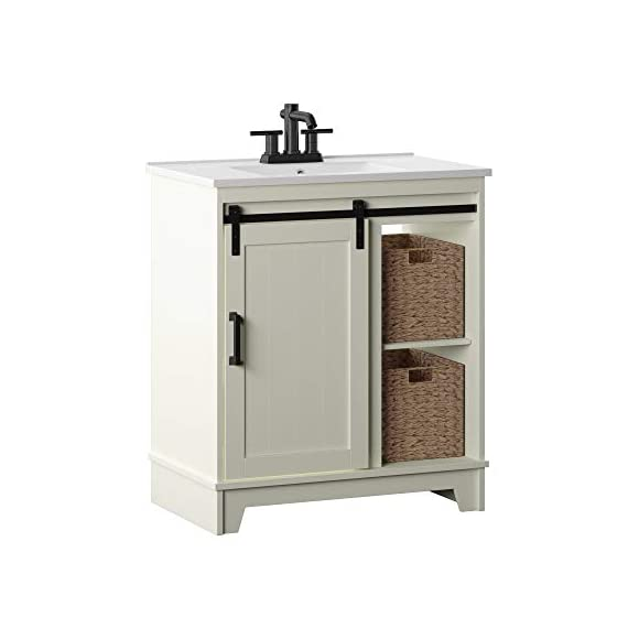 "Pamari Cassara 30"" Single Bathroom Vanity with Sliding Barn Door and White Sink - Sliding barn door with planked design for chic, modern farmhouse look 1 pc vitreous china integrated single sink top/ bowl included Open shelving for displaying towels and other items with optional modesty baskets included for storage - bathroom-vanities, bathroom-fixtures-hardware, bathroom - 41lN7UKTp7L. SS570  -"