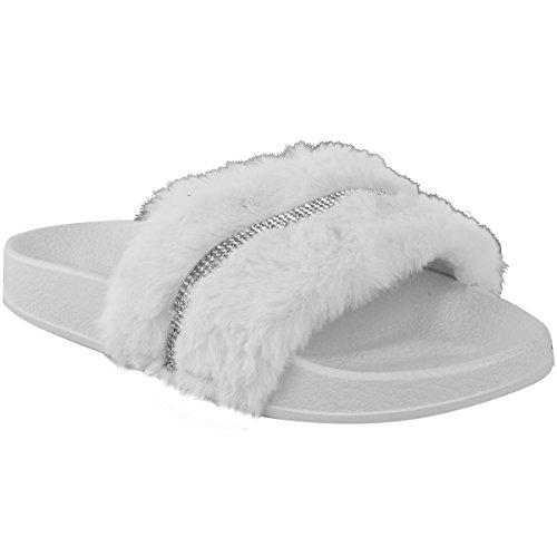 Moda Sete Donna Diamante Strass In Pelliccia Ecopelle Sili Sandali Estivi Bianco Faux Fur