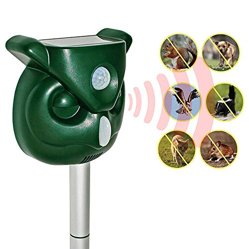 Chansh Solar Powered Ultrasonic Outdoor Animal Repeller + Flashing Strobe - Effectively Scares Away Cats, Dogs, Squirrels, Racoon Groundhog Skunk etc - Motion Activated [2019 Upgraded Version] ()
