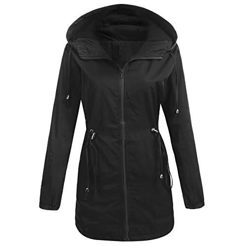 Beyove Women's Long Waterproof Lightweight Windbreaker Drawstring Hooded Warm Rain Jacket for sale