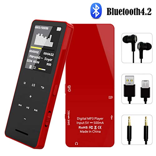 FenQan MP3 Player, Bluetooth 4.2 Music Player, 8GB Memory Support 128G TF Card, 50 Hours Playback HiFi Sound with Multifunction Video, Photo Viewer-FQV5Red
