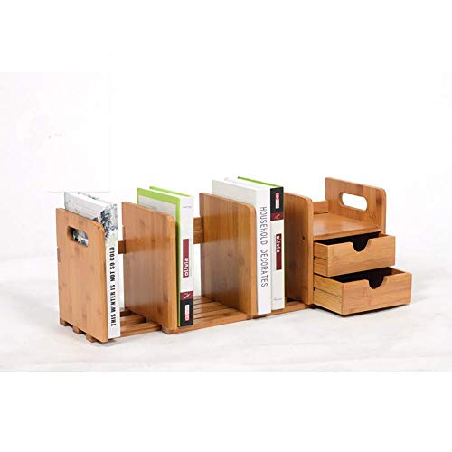 Yingealy Exquisite Bookshelf Natural Bamboo Bookshelf,Extendable Multipurpose Storage Rack Two Drawers for Office and Home Desk Tidy Desk Organizer-A 80x19x22cm(31x7x9inch)