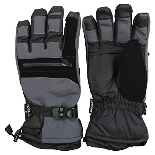 Men's Waterproof Utility Insulated Touch Screen Winter Cold Weather Ski Snow Glove (Charcoal, Large) - Insulated Waterproof Breathable Utility Glove
