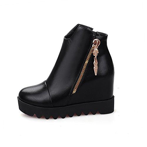 Soft Toe Round Zipper Heels Closed Top High Boots Women's Material Low Black WeenFashion nCq6Aq