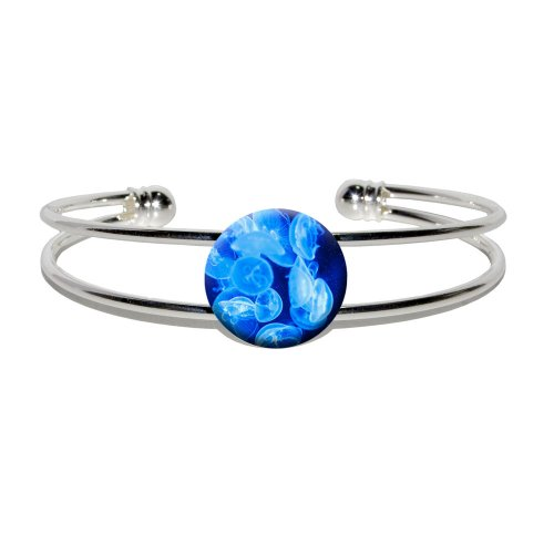 (Jellyfish - Blue Jelly Fish Ocean Underwater - Novelty Silver Plated Metal Cuff Bangle Bracelet)