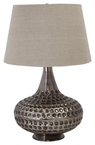 Ashley Furniture Signature Design - Sarely Metal Table Lamp - Contemporary - Textured Metal - Pewter (Contemporary Pewter Table Lamp)