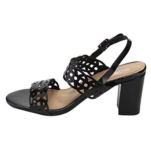 Forever IG05 Womens Cutout Ankle Strap Slingback Block Heel Dress Sandals Black 9QTAn61B