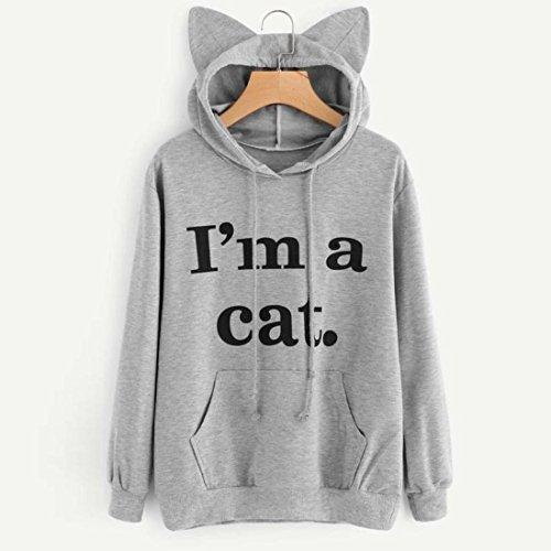 Sweat Capuchon S M XXL L Capuche La Plus Au Manche Gris Haut XL Sweatshirt Long Cat OVERMAL Chandail OSxfwxq8Y7
