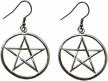 Pentagram Earrings,Supernatural,Powerful, Medieval Renaissance Gothic Pentacle Silver Earrings