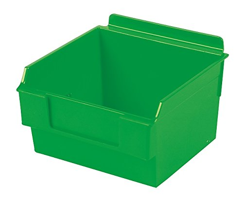 Slatwall Storage / Display bin, Plastic (polypropylene), 5.25''L x 5.5''W x 3.37''H, Green (20 Pack) Fits grid and pegboard with optional adapters.