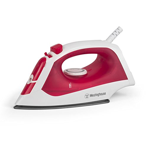 (Westinghouse Steam Iron with 5.1 Ounce Water Tank, 1200 Watts, White with Red)