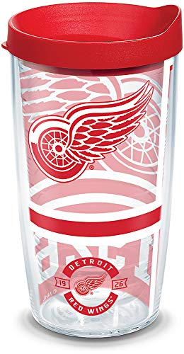 Tervis 1303673 NHL Detroit Wings Top Shelf Insulated Tumbler with Wrap and Red Lid, 16oz, Clear