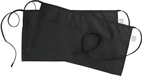 3 Pockets Waist Apron (SET of 2, Black, 24x12 inches) - Restaurant Half Aprons, Bartender Apron, Money Apron, Check Holder - by Utopia Wear