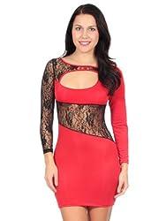 Lady's Clubwear Mini Dress, Silk Long Sleeve, Red, M Size
