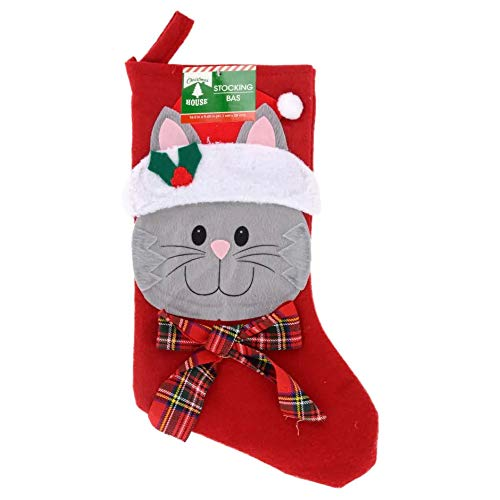 Christmas Stockings Pet Cat Fireplace Hanging Red Plush Personalized Stocking Decorations for Family Celebrate a Holiday Season Decor Pets Bow Stocking Tree Ornament Party Decor 18 Inches-Red Stripe