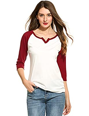 Bluetime Women's V Neck Casual 3/4 Sleeve Baseball Tshirt Raglan Jersey Shirt