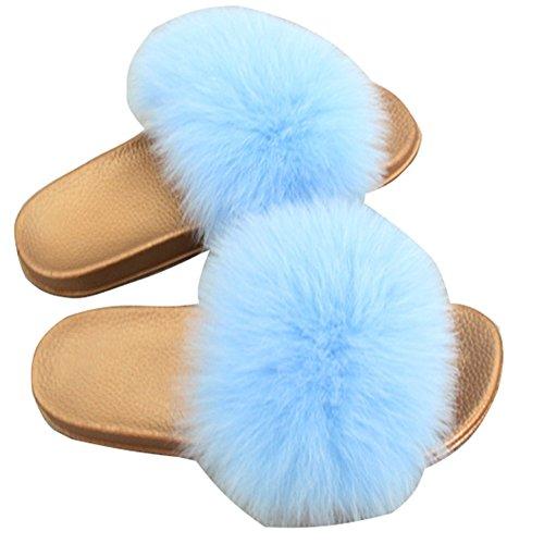 de Open Fourrure Multicolore Sangle Sandales blue Glisser Femme sur Chaussons Toe Simple MSFS Plume Y7I6twIq