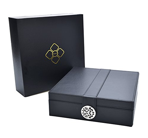 Box Jewelry Elegant (Elegant Women's Jewelry Organizer Box – Modern Design Keeps Necklaces, Rings & Earrings Safe & Organized, Large Mirror, 2 Stackable Trays & 24 Sections, Beautiful Magnetic Clasp Idea)