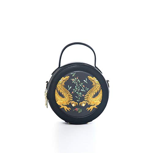 Fashion Microfiber&cowhide Zipper Round Packet Vintage Chinese Golden Dragon Auspicious Chinese Style Print One Shoulder Cross-body Bags Handbag Small Round Wallet Circle Purse Clutch